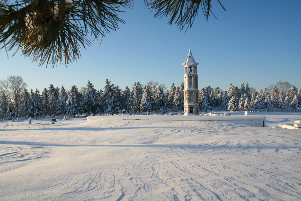 The Bellman Carillon Tower in the Winter from a Distance