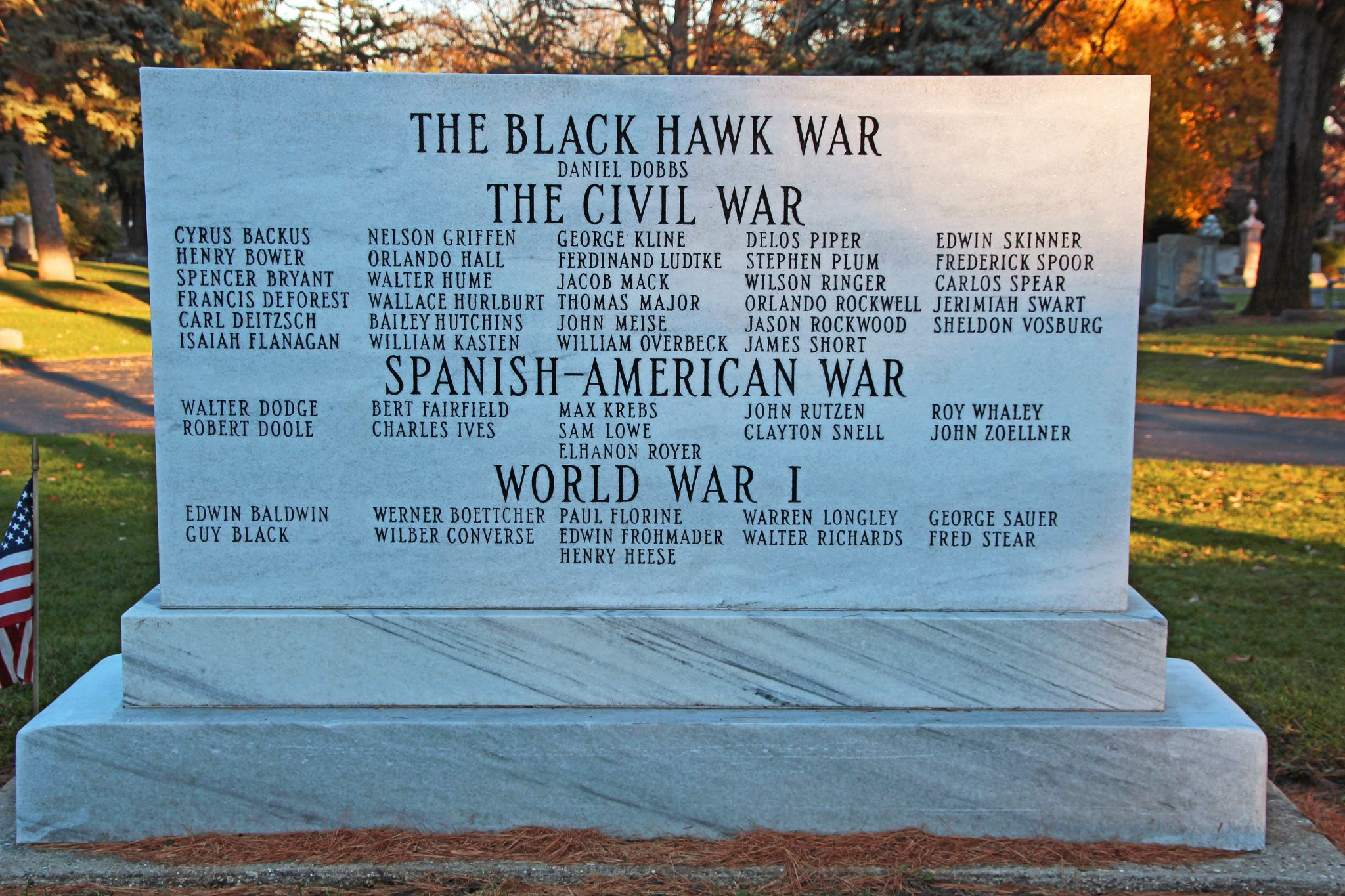 close up of War Memorial Marker