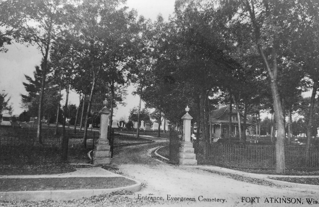 Evergreen Cemetery Main Entrance circa 1910 showing pillars and iron fence