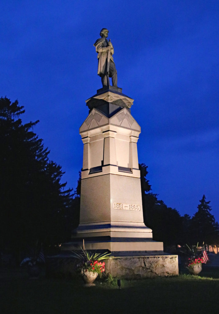 The Soldiers Monument illuminated