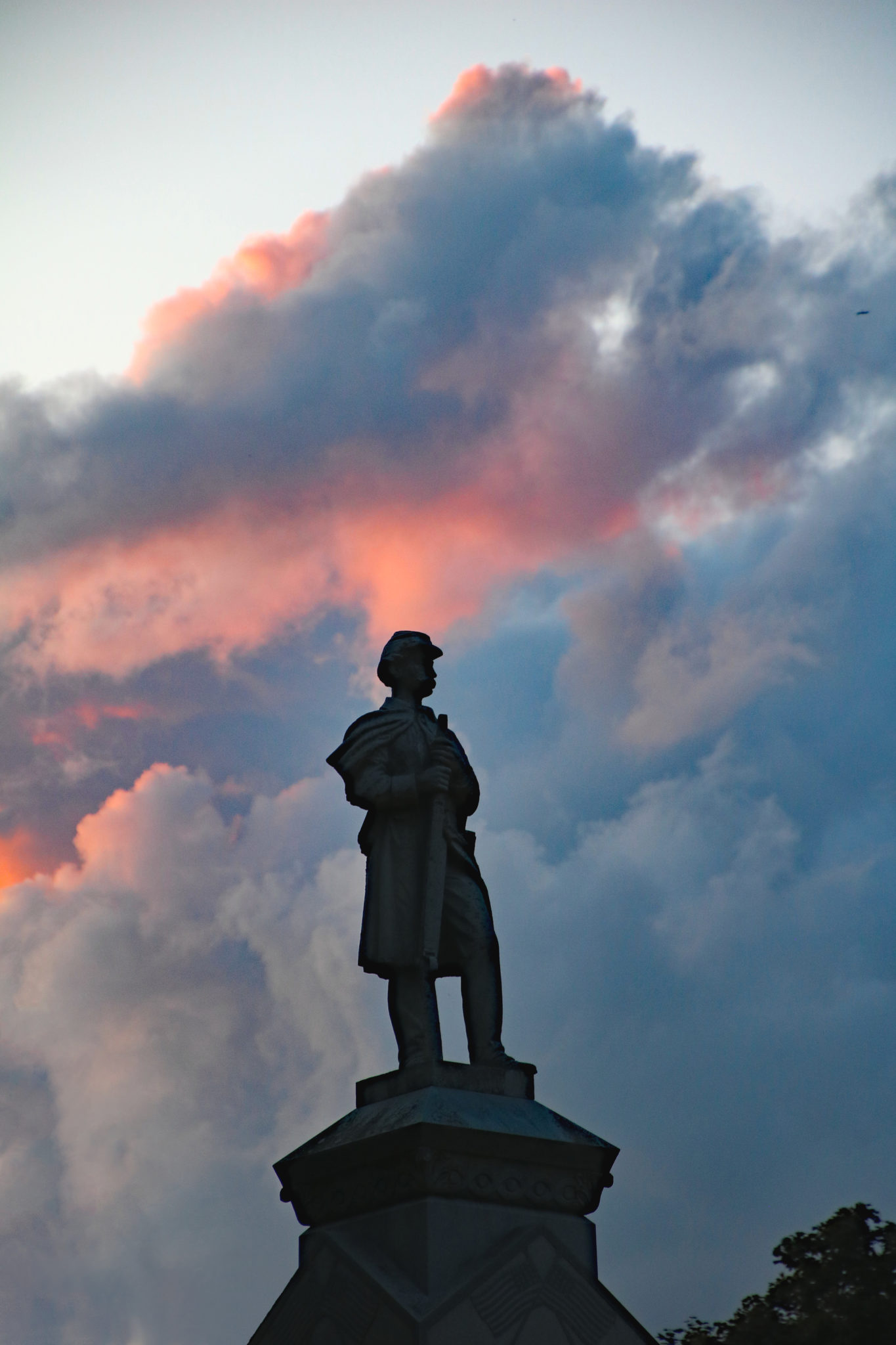 The Soldiers Monument at dusk
