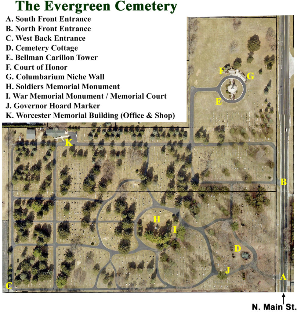 A Map of Evergreen Cemetery